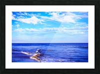 blue ocean view with blue cloudy sky in summer Picture Frame print