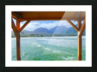 ocean view with mountain and blue cloudy sky background at Kauai, Hawaii, USA Picture Frame print