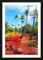 palm trees with green tree and blue cloudy sky in summer Picture Frame print