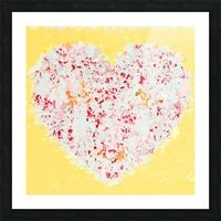 pink and red heart shape with yellow background Picture Frame print