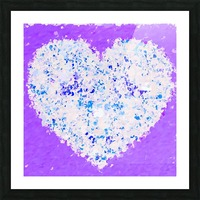 blue and white heart shape with purple background Picture Frame print