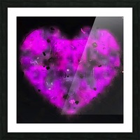pink blurry heart shape with black background Picture Frame print