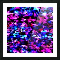 psychedelic geometric triangle polygon abstract pattern in pink blue black Picture Frame print