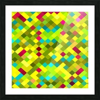 geometric square pixel pattern abstract in yellow red green blue Picture Frame print