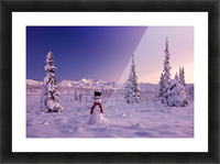 Snowman At Sunset, Snow Covered Spruce Trees, Winter, Chugach Mountains In The Background, Glenn Highway, Alaska Usa. Picture Frame print