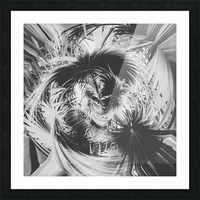 spiral palm leaves abstract background in black and white Picture Frame print