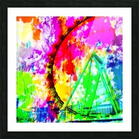 ferris wheel in the city at Las Vegas, USA with colorful painting abstract background Picture Frame print