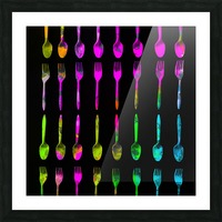 fork and spoon pattern in pink blue yellow with black background Picture Frame print