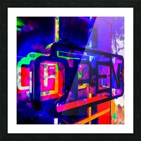 OPEN neon sign with pink purple red and blue painting abstract background Picture Frame print
