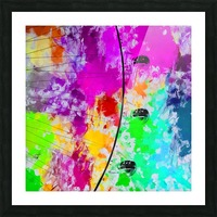 ferris wheel with pink blue green red yellow painting abstract background Picture Frame print