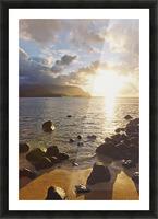 Hawaii, Kauai, Hanalei Bay, Dramatic sunset over ocean from beach. Picture Frame print