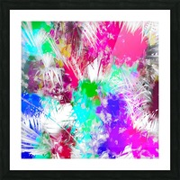 palm leaf with colorful painting abstract background in pink blue green purple Picture Frame print