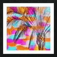 palm tree with colorful painting abstract background in pink orange blue Picture Frame print