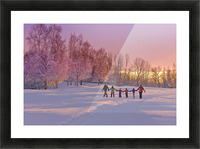 Family Group, Holding Hands, Walk On A Snow Path At Sunset With A Birch Forest In The Background, Russian Jack Springs Park, Anchorage, Southcentral Alaska, Winter Picture Frame print