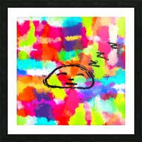 sleeping cartoon face with painting abstract background in red pink yellow blue orange Picture Frame print