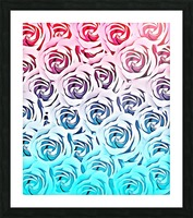 blooming rose pattern texture abstract background in pink and blue Picture Frame print