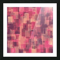 psychedelic geometric square pattern abstract in pink and purple Picture Frame print