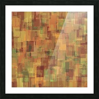 vintage psychedelic geometric square pattern abstract in brown and green Picture Frame print