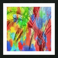 isolate palm tree with painting abstract background in red blue green yellow Picture Frame print