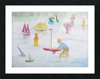 Children playing with sailboats. Picture Frame print