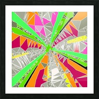 psychedelic geometric pattern drawing abstract background in green orange red pink Picture Frame print