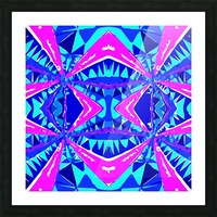 psychedelic geometric abstract pattern background in blue pink purple Picture Frame print