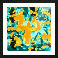 splash painting texture abstract background in green and orange Picture Frame print