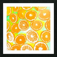 juicy orange pattern abstract with yellow and green background Picture Frame print