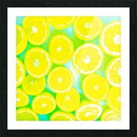 juicy yellow lemon pattern abstract with green background Picture Frame print