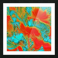 closeup palm leaf texture abstract background in orange blue green Picture Frame print