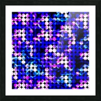 circle pattern abstract background with splash painting abstract in blue and pink Picture Frame print