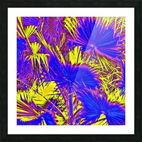 closeup palm leaf texture abstract background in blue pink and yellow Picture Frame print