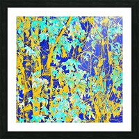 green maple tree leaf with blue and yellow abstract background Picture Frame print