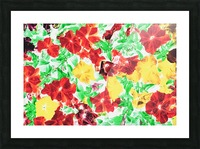red flower and yellow flower with green leaf abstract background Picture Frame print