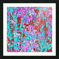 pink maple tree leaf with blue and red abstract background Picture Frame print