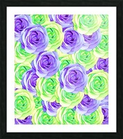 purple rose and green rose pattern abstract background Picture Frame print