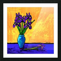 IRIS BOUQUET ON YELLOW Picture Frame print
