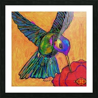 HUMMINGBIRD ON YELLOW Picture Frame print
