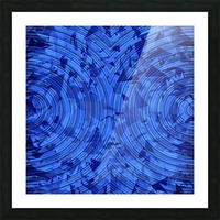 psychedelic geometric circle pattern abstract background in blue Picture Frame print