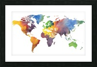 Colorful Map Of The World Watercolor Picture Frame print