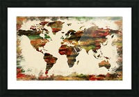 World Map Decorative Painting Picture Frame print