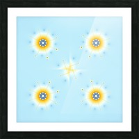 four snow flakes fractal Picture Frame print