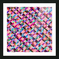 geometric pixel square pattern abstract background in pink purple blue yellow green Picture Frame print