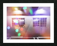 restaurant in the city with the colorful night light bokeh abstract Picture Frame print