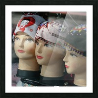 Three Mannequin Heads with Bandanas Picture Frame print