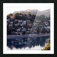 Silver Lake Reservoir with Griffith Observatory Picture Frame print