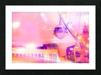 Ferris wheel and modern building with night light bokeh at Las Vegas, USA Picture Frame print