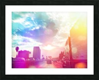 blue cloudy sky on the road with colorful bokeh light abstract Picture Frame print