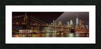 MANHATTAN SKYLINE & BROOKLYN BRIDGE Idyllic Nightscape | Panoramic  Picture Frame print
