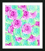 blooming rose texture pattern abstract background in pink and green Picture Frame print